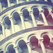 Leaning Tower of Pisa close up, Italy.   Instagram style filtred image