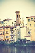 Houses on riverside in Florence, Italy.   Instagram style filtred image