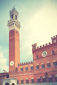 Tower in Siena, Italy. Retro style filtred image