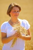 beautiful young woman in a wheat field