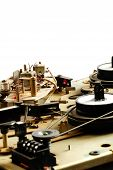 stock photo of magnetic tape  - Reel tape recorder mechanism vintage detail objects - JPG