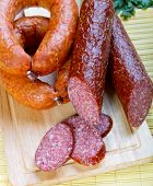 Smoked Sausage Ringlets And Cut In The Portions