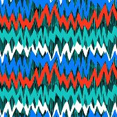 picture of jade blue  - Striped hand painted pattern with brushstrokes and zigzag lines with ethnic and tribal motifs in bright various colors red - JPG