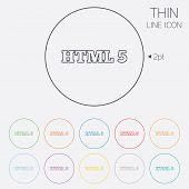 HTML5 sign icon. New Markup language symbol.