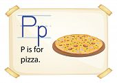 A letter P for pizza on a white background