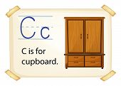 A letter C for cupboard on a white background