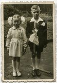 POLAND, CIRCA 1930s - Vintage photo of children at the First Communion