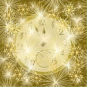 New Year Clock And Fireworks Vector