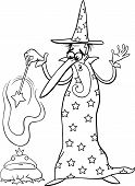 Wizard Fantasy Cartoon Coloring Page