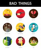 Set of modern flat men's bad things icons for your design