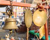 Brass bell near hindu temple