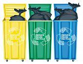 Three opned trash bin