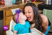 Baby Kisses Her Mother