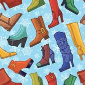 Colored women's boots ,shoes,snowflakes seamless pattern
