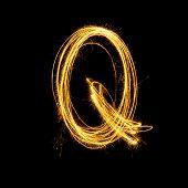 Sparkler Firework Light Alphabet Q.