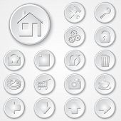 Vector abstract white round paper icon set