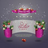 Merry Christmas celebration background with ribbon banner