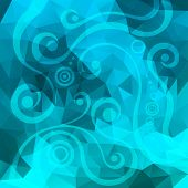 abstract turquoise background with floral elements,