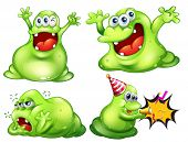 Flashcard of four green monsters