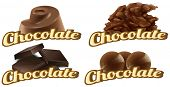 Illustration of many types of chocolates
