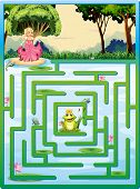 Illustration of a maze with fairy tale background