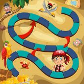Illustration of a boardgame with pirate background