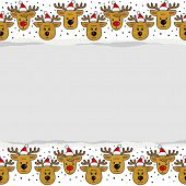 Reindeers in Santa Claus hats pattern on white with blank torn paper