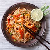 Delicious Rice Noodles With Shrimp And Vegetables  Top View