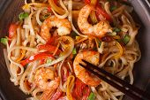 Rice Noodles With Shrimp And Vegetables Macro Horizontal