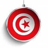 Merry Christmas Silver Ball With Flag Tunisia