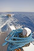 View from the stern of a motor yacht