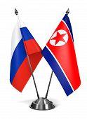 North Korea and Russia - Miniature Flags.