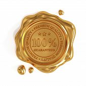foto of wax seal  - 3d render of golden wax seal 100 percent premium quality stamp isolated on white background - JPG