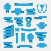 Blue ribbons,medal,award,cup set isolated on white background.