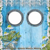 Grunge Porthole With Bunch Of Flower On The Wooden Background