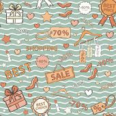 Vector in blue tones pattern on shopping, themed design