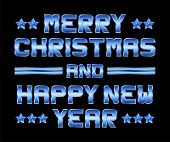 Merry Christmas And Happy New Year, Blue Metal Greeting, Black Background