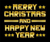 Merry Christmas And Happy New Year, Golden Greeting, Black Background