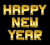 Happy New Year, Golden Greeting, Black Background