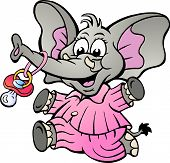 Hand-drawn Vector Illustration Of An Happy Baby Girl Elephant In Pajamas Holding A Pacifier