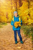 Cute small boy with bunch of yellow maple leaves