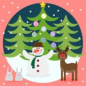 Winter Christmas Card With Funny Deer, Snowman, Rabbits And Fir With Glass Holiday Balls