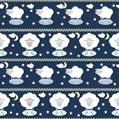 Pattern Background With Funny Cartoon Moon, Clouds, Stars And Sheep, The Symbol Of The New Year Of T