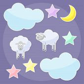 Funny Background With Moon, Clouds, Stars And Sheep