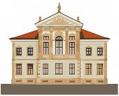 stock photo of chopin  - Late baroque facade style of Chopin State Museum in Ostrogskich Palace in Warsaw - JPG