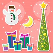 Winter Holidays Set With Funny Cartoon Snowman, Drawing Snowflakes, Moon, Fir And Many Bright Colore