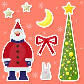 Winter Holidays Background With Cute Funny Cartoon Santa Claus,rabbit, Fir, Moon And Stars On The Br