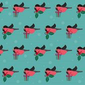 Winter Festive Pattern With Bullfinches And Branch Of Holly On The Green Cover