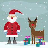 Funny Cartoon Winter Holidays Greeting Card With Santa Claus And Funny Deer On The Grey Background W
