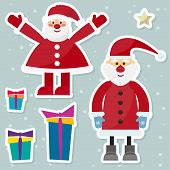 Funny Cartoon Winter Holidays Background With Set Of Two Santa Clauses On The Soft Gray Background